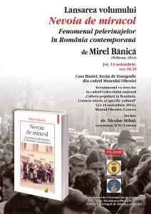 Afis lansare Nevoia de miracol de Mirel Banica la Craiova